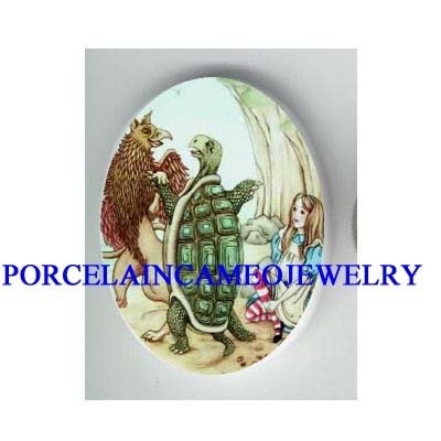 ALICE IN WONDERLAND WITH TURTLE PORCELAIN CAMEO CAB