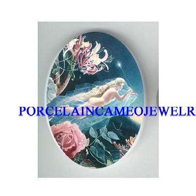 VICTORIAN ROCOCO ROSE BUTTERFLY FAIRY  * UNSET CAMEO PORCELAIN CAB