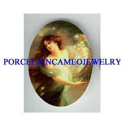 VICTORIAN ROCOCO STAR FAIRY* UNSET CAMEO PORCELAIN CAB
