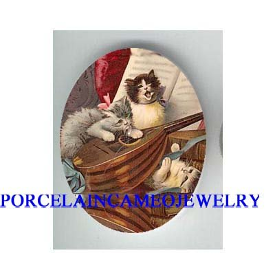 3 VICTORIAN PLAYFUL KITTY CAT PLAY GUITAR SINGING* UNSET CAMEO PORCELAIN CAB