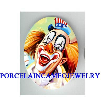 SMILING HAPPY CLOWN AMERICAN FLAG HAT * UNSET CAMEO PORCELAIN CAB