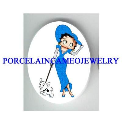 BETTY BOOP IN BLUE WALKING HER DOG* UNSET CAMEO PORCELAIN CA