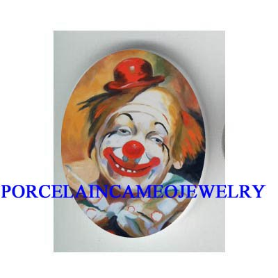SMILING HAPPY CLOWN RED HAT * UNSET CAMEO PORCELAIN CAB