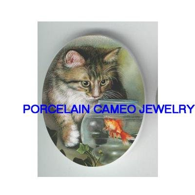 VICTORIAN KITTY CAT WITH GOLDFISH BOWL* UNSET CAMEO PORCELAIN CAB