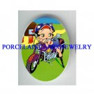 BETTY BOOP MOTORCYCLE BIKER UNSET CAMEO PORCELAIN CAB