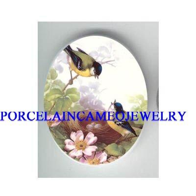 ROBIN BIRD FAMILY EGG NEST * UNSET CAMEO PORCELAIN CAB