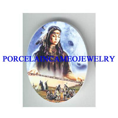 NATIVE AMERICAN ANGEL WATCH OVER FAMILY CAMEO PORCELAIN