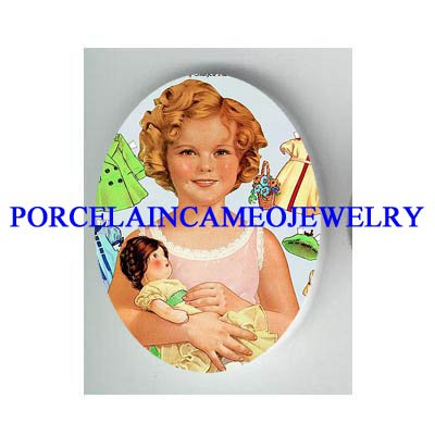 SHIRLEY TEMPLE HOLDING HER DOLL * UNSET CAMEO PORCELAIN CAB