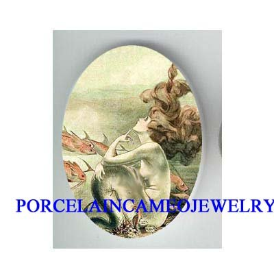 VICTORIAN MERMAID WITH FISH* UNSET CAMEO PORCELAIN CAB