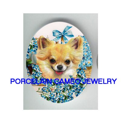 LONG HAIR CHIHUAHUA DOG FORGET ME NOT UNSET PORCELAINCAMEO CAB