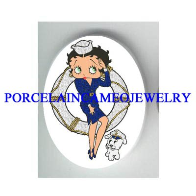 BETTY BOOP NAVY UNIFORM PUPPY DOG * UNSET CAMEO PORCELAIN CAB