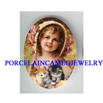 VICTORIAN CHERRY HAT GIRL HOLDING TWO KITTY CAT* UNSET CAMEO PORCELAIN CAB
