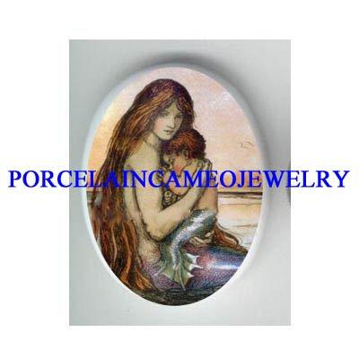 ART NOUVEAU MERMAID MOM CUDDLING BABY* UNSET CAMEO PORCELAIN CAB