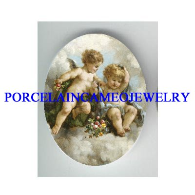 2 ROCOCO ANGEL CHERUB ROSE* UNSET CAMEO PORCELAIN CAB