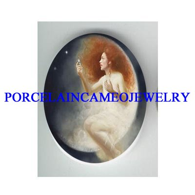 ANGEL FAIRY MOON WITH LIGHTING  BUG* UNSET CAMEO PORCELAIN CAB