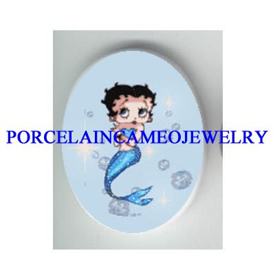 BETTY BOOP BUBBLE MERMAID * UNSET CAMEO PORCELAIN CAB