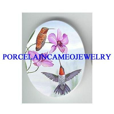 2 HUMMINGBIRD WITH ORCHID FLOWER * UNSET CAMEO PORCELAIN CAB