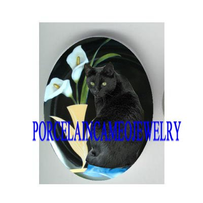BLACK CAT WITH CALLA LILY UNSET CAMEO PORCELAIN CAB