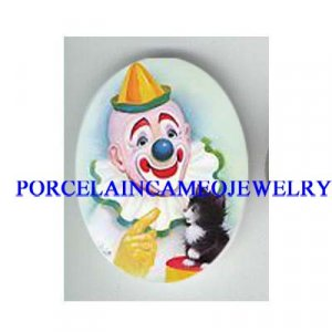 CIRCUS CLOWN TRAINING KITTY CAT * UNSET CAMEO PORCELAIN CAB