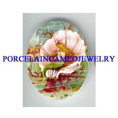 VICTORIAN CROWN MERMAID PRINCESS SEASHELL CAMEO PORCELAIN CAB
