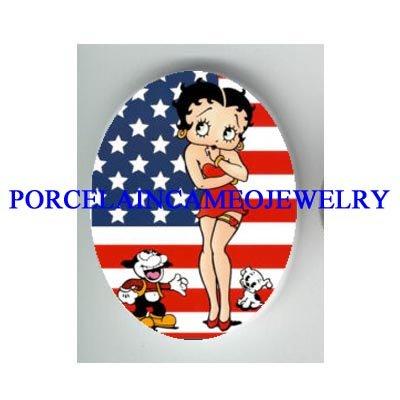 BETTY BOOP CAT DOG USA FLAG* UNSET CAMEO PORCELAIN CAB