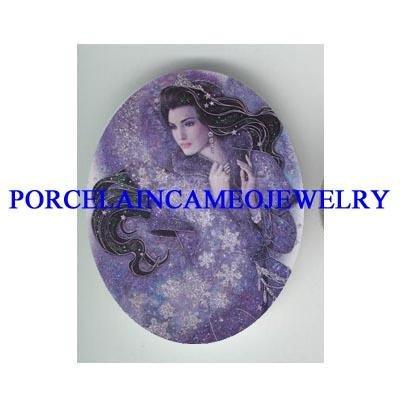 PURPLE STARS ANGEL FAIRY UNSET PORCELAIN CAMEO CAB