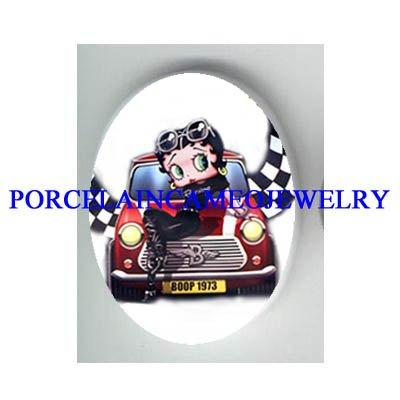 BETTY BOOP SPORT CAR RACING* UNSET CAMEO PORCELAIN CAB
