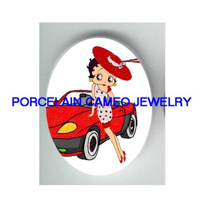 BETTY BOOP RED HAT SPORTS CAR* UNSET CAMEO PORCELAIN CAB
