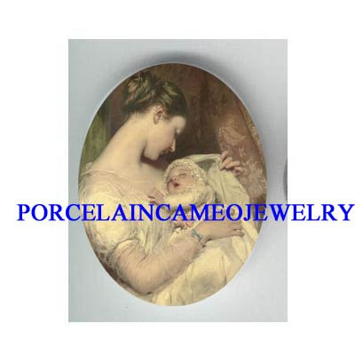 VICTORIAN MOM HOLDING BABY  * UNSET CAMEO PORCELAIN CAB