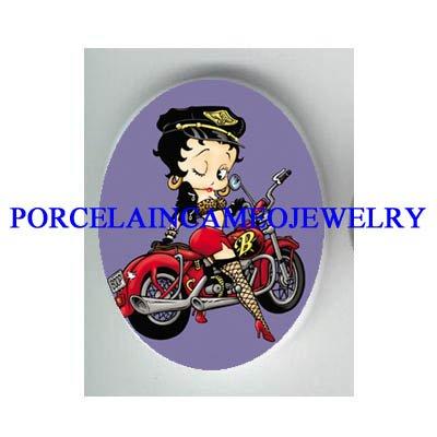 PURPLE BETTY BOOP MOTORCYCLE BIKER* UNSET CAMEO PORCELAIN CAB