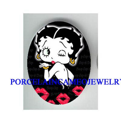 BETTY BOOP IN BLACK KISSES* UNSET CAMEO PORCELAIN CAB