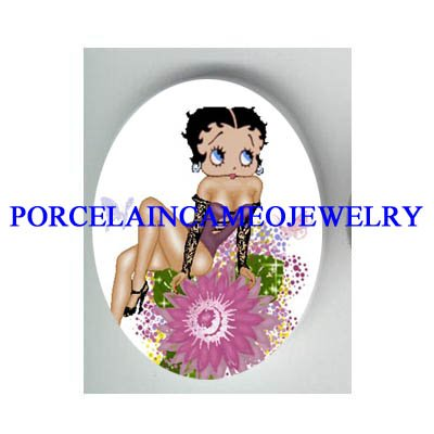 BETTY BOOP COLORFUL FLOWER  * UNSET CAMEO PORCELAIN CAB