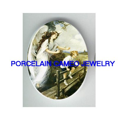 GUARDIAN ANGEL CHILD CHILDREN  UNSET PORCELAIN CAMEO CAB