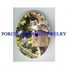GREY KITTY CAT 2 BLUEBIRD BIRD HOUSE* UNSET CAMEO PORCELAIN CAB