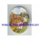*ALICE IN WONDERLAND WITH QUEEN* UNSET CAMEO PORCELAIN CAB