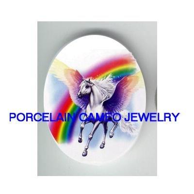 PEGASUS HORSE RAINBOW UNSET PORCELAIN CAMEO CAB 30X40MM