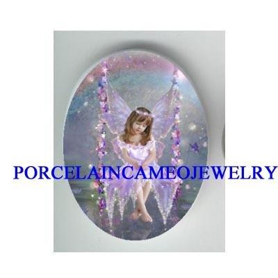 ANGEL GIRL RAINBOW FLOWER SWING * UNSET CAMEO PORCELAIN CAB