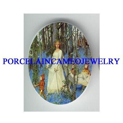 FAIRY PRINCESS WEDDING WITH LITTLE FAIRY * UNSET CAMEO PORCELAIN CAB