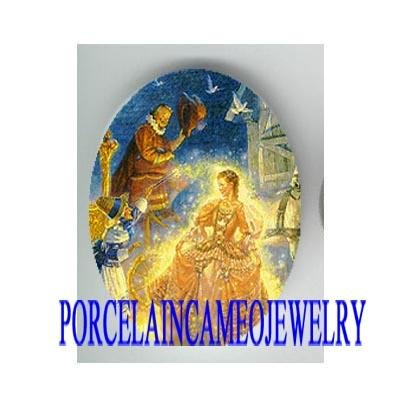 CINDERELLA WITH WIZARD FAIRY * UNSET CAMEO PORCELAIN CAB