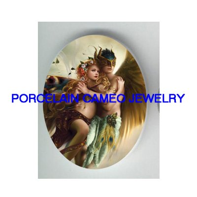2 LOVER ANGEL COUPLE UNSET CAMEO PORCELAIN CAB 30X40MM