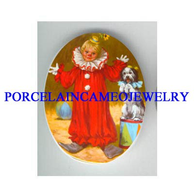 CIRCUS CHILD CLOWN WITH DOG * UNSET CAMEO PORCELAIN CAB