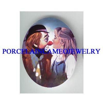 GIRL KISSING CIRCUS CLOWN NOSE * UNSET CAMEO PORCELAIN CAB