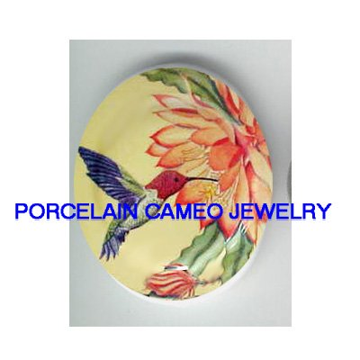 HUMMINGBIRD WITH WATER LILY LOTUS * UNSET CAMEO PORCELAIN CAB