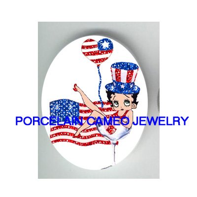BETTY BOOP USA FLAG JULY 4TH* UNSET CAMEO PORCELAIN CAB