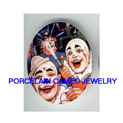 3 CIRCUS CLOWN PLAYING WATER UNSET CAMEO PORCELAIN CAB