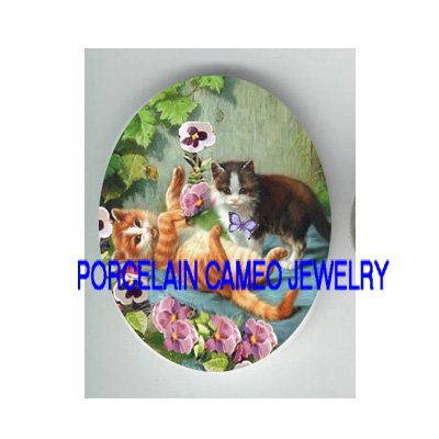 2 KITTY CAT CHASING BUTTERFLY PANSY * UNSET CAMEO PORCELAIN CAB