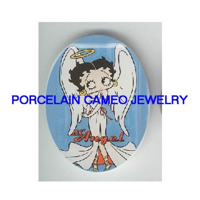 ANGEL BETTY BOOP WITH HALO  * UNSET CAMEO PORCELAIN CAB
