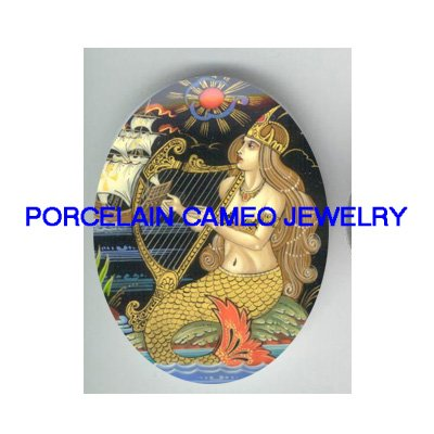 VICTORIAN MERMAID PLAY HARP* UNSET CAMEO PORCELAIN CAB
