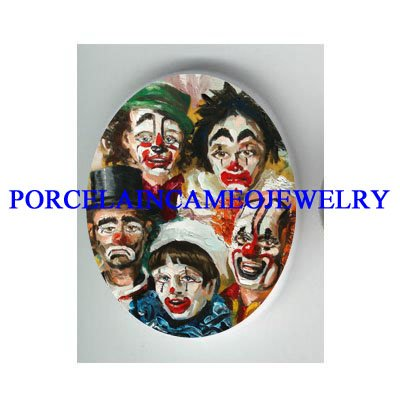 5 CIRCUS CLOWN FACE COLLAGE* UNSET CAMEO PORCELAIN CAB