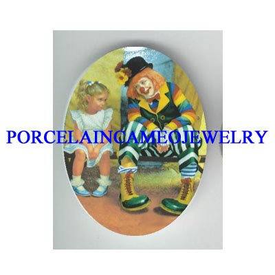 CIRCUS CLOWN WITH LITTLE GIRL * UNSET CAMEO PORCELAIN CAB
